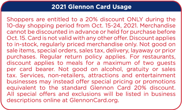 2021 Glennon Card Usage Text