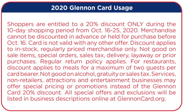 2020 Glennon Card Usage Text
